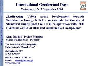 International Geothermal Days www pnec org pl Zakopane