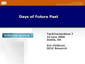OCLC Research OCLC Online Computer Library Center Days