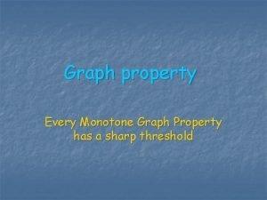 Graph property Every Monotone Graph Property has a