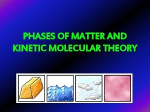 PHASES OF MATTER AND KINETIC MOLECULAR THEORY One