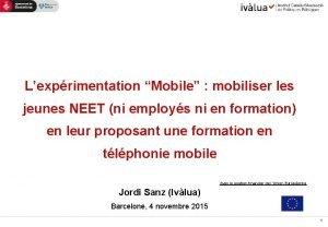 Lexprimentation Mobile mobiliser les jeunes NEET ni employs