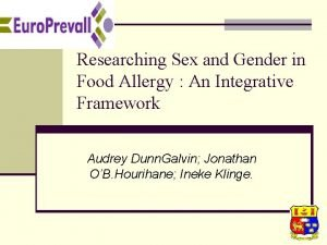 Researching Sex and Gender in Food Allergy An