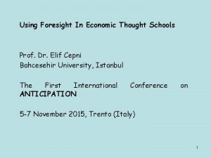 Using Foresight In Economic Thought Schools Prof Dr