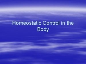 Homeostatic Control in the Body Homeostasis Review Homeostasis