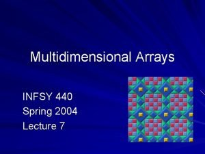 Multidimensional Arrays INFSY 440 Spring 2004 Lecture 7