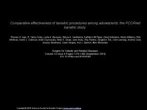 Comparative effectiveness of bariatric procedures among adolescents the