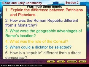 Rome and Early Christianity Warmup them minds Section