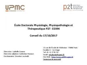 cole Doctorale Physiologie Physiopathologie et Thrapeutique P 2