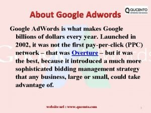 Google Ad Words is what makes Google billions