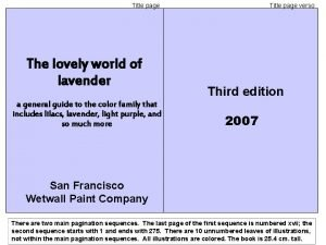Title page The lovely world of lavender a