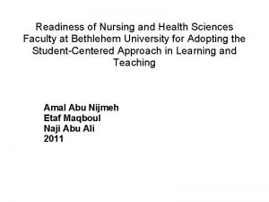 Readiness of Nursing and Health Sciences Faculty at