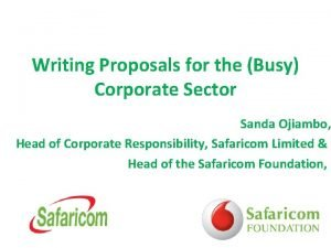 Writing Proposals for the Busy Corporate Sector Sanda