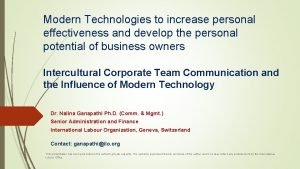 Modern Technologies to increase personal effectiveness and develop