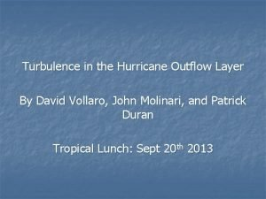 Turbulence in the Hurricane Outflow Layer By David