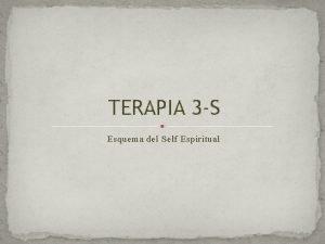TERAPIA 3 S Esquema del Self Espiritual TERAPIA
