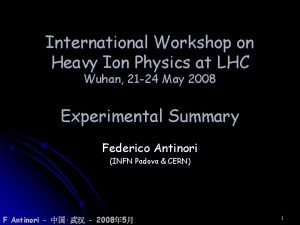 International Workshop on Heavy Ion Physics at LHC