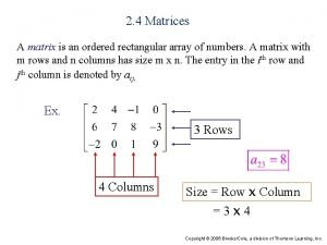 2 4 Matrices A matrix is an ordered