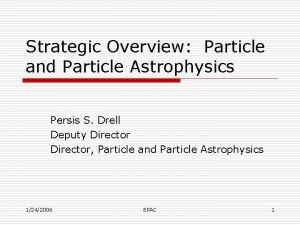 Strategic Overview Particle and Particle Astrophysics Persis S