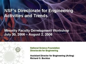 NSFs Directorate for Engineering Activities and Trends Minority
