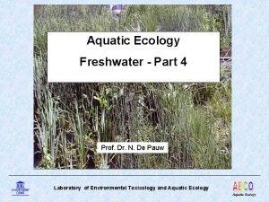 Aquatic Ecology Freshwater Part 4 Prof Dr N