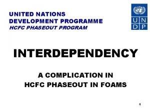 UNITED NATIONS DEVELOPMENT PROGRAMME HCFC PHASEOUT PROGRAM INTERDEPENDENCY