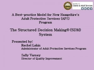 A Bestpractice Model for New Hampshires Adult Protective