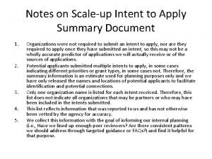 Notes on Scaleup Intent to Apply Summary Document