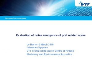 Evaluation of noise annoyance of port related noise