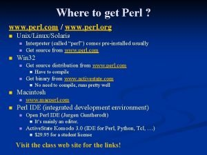 Where to get Perl www perl com www