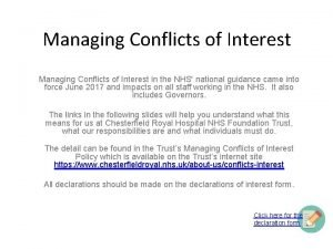 Managing Conflicts of Interest in the NHS national