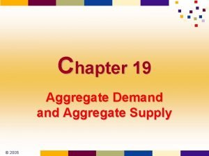 Chapter 19 Aggregate Demand Aggregate Supply 2005 Economic