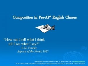 Composition in PreAP English Classes How can I