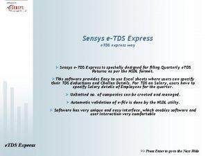 Sensys eTDS Express e TDS express way Sensys