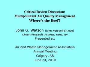 Critical Review Discussion Multipollutant Air Quality Management Wheres