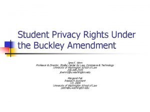 Student Privacy Rights Under the Buckley Amendment Jane