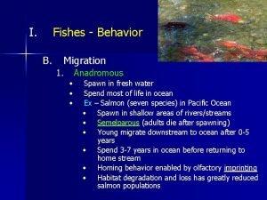 I Fishes Behavior B Migration 1 Anadromous Spawn