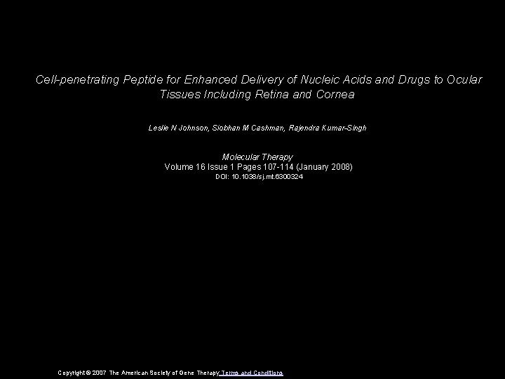 Cellpenetrating Peptide for Enhanced Delivery of Nucleic Acids