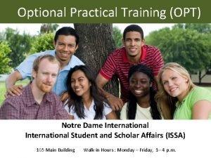 Optional Practical Training OPT Notre Dame International Student
