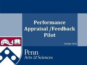 Performance Appraisal Feedback Pilot October 2016 Pilot Participants