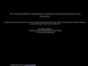 The inhibitory effects of rebamipide on cigarette smokeinduced