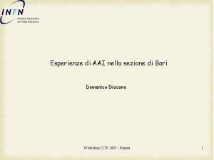 Esperienze di AAI nella sezione di Bari Domenico