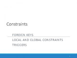 Constraints FOREIGN KEYS LOCAL AND GLOBAL CONSTRAINTS TRIGGERS