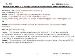 May 2001 doc IEEE 802 15 01244 r