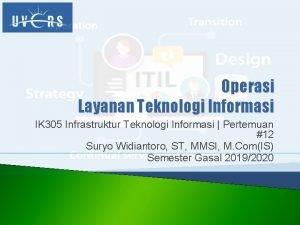 Operasi Layanan Teknologi Informasi IK 305 Infrastruktur Teknologi