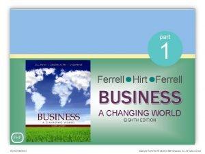 part 1 Ferrell Hirt Ferrell BUSINESS A CHANGING