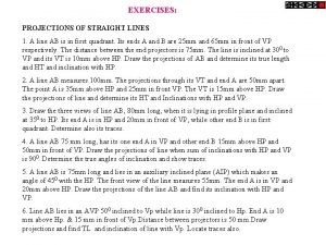 EXERCISES PROJECTIONS OF STRAIGHT LINES 1 A line