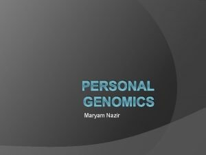 PERSONAL GENOMICS Maryam Nazir Personal Genomics Branch of