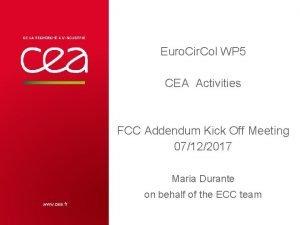 Euro Cir Col WP 5 CEA Activities FCC