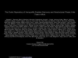 The Public Repository of Xenografts Enables Discovery and
