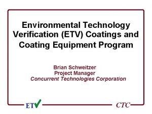 Environmental Technology Verification ETV Coatings and Coating Equipment